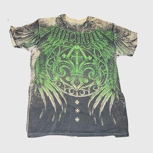 Affliction Men's Archaic Green Graphic T Shirt | L